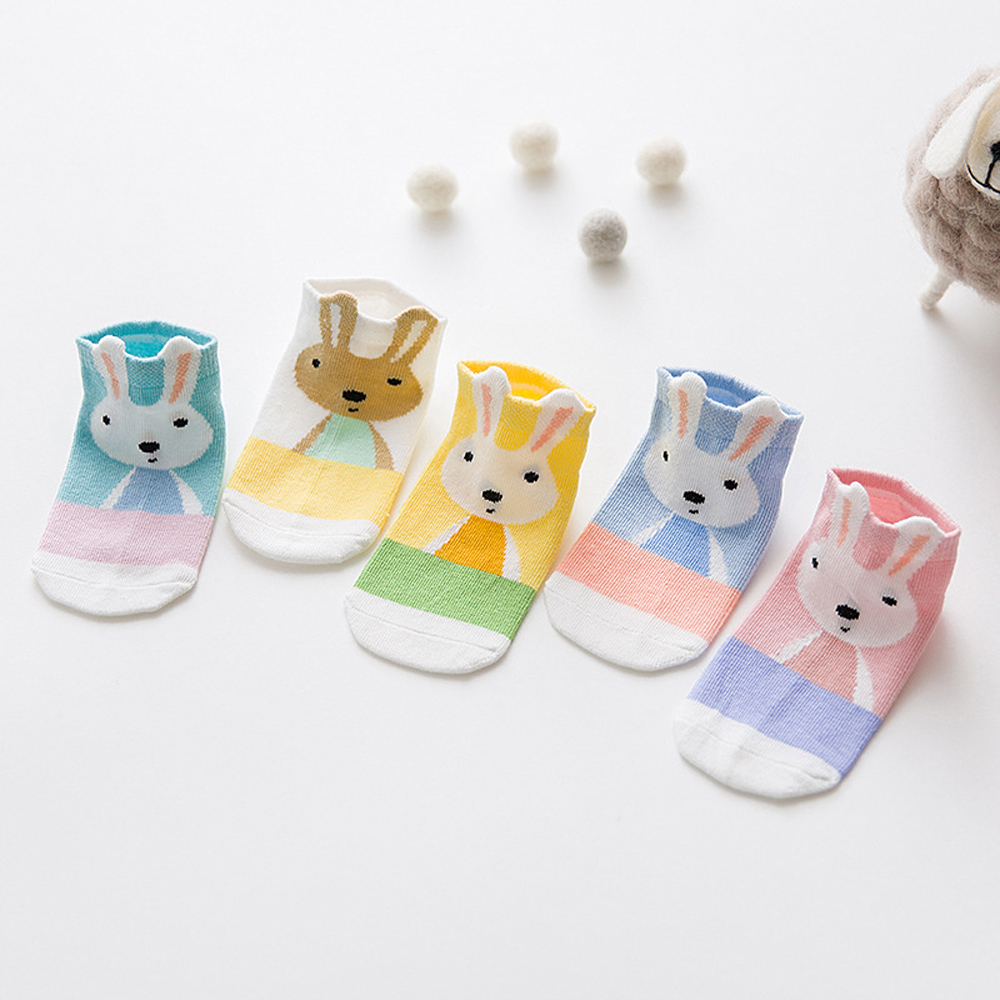 2018 Casual Children Socks Cotton Sock Cartoon Rabbit Printed Cotton Socks Suit for 1-3 Y Boys Girls 12-24 Months 5 Colors/Lot