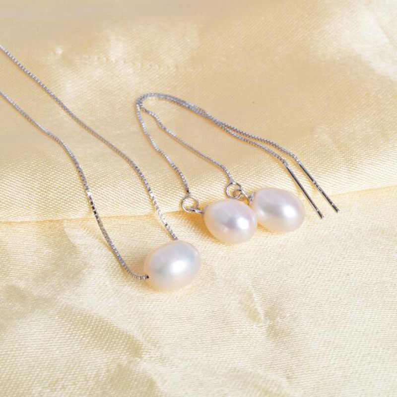 ASHIQI 925 Sterling Silver Jewelry Set Freshwater Pearl Necklaces Earrings 7-8mm Rice Natural Freshwater Pearls for women