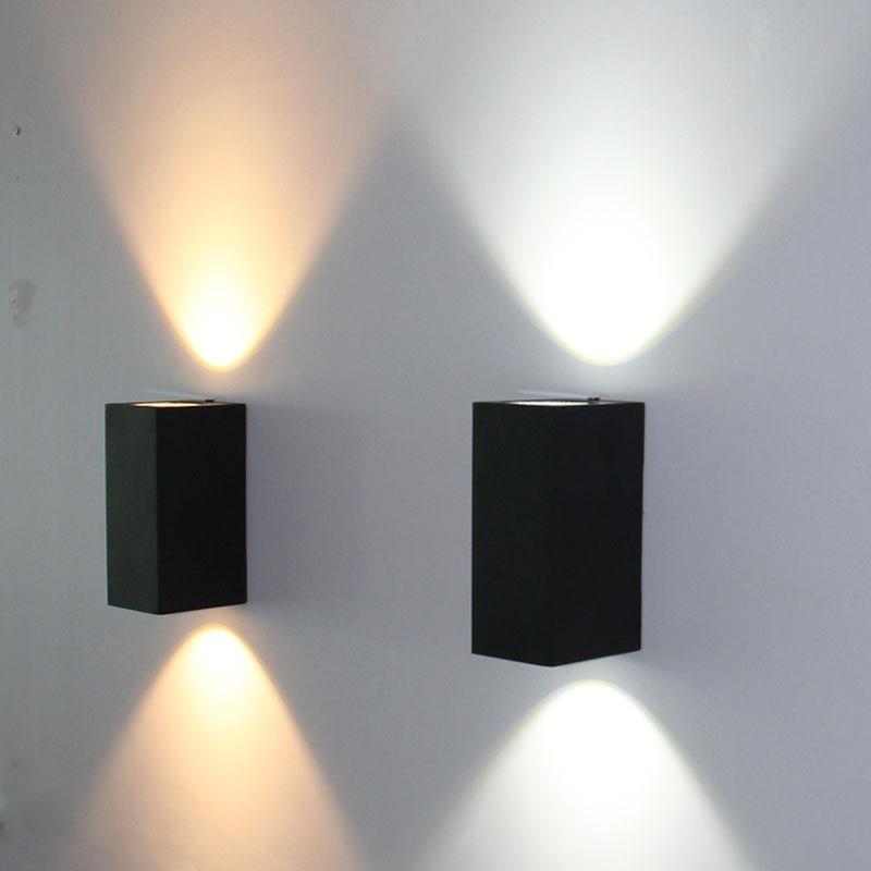 20pcs / παρτίδα LED αδιάβροχο υπαίθριο σύγχρονο φωτιστικό τοίχου 6W AC85-265V IP65 αλουμινίου τοίχο λάμπα υπαίθρια φωτισμό βεράντα
