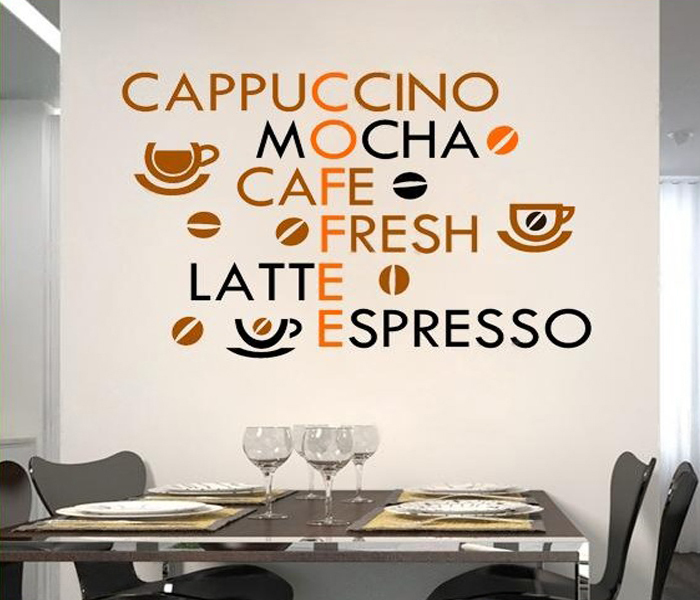 Creative Coffee Wall Stickers Home Decor Living Room Decoration Modern Wall Decor Art Vinyl Quotes Kitchen