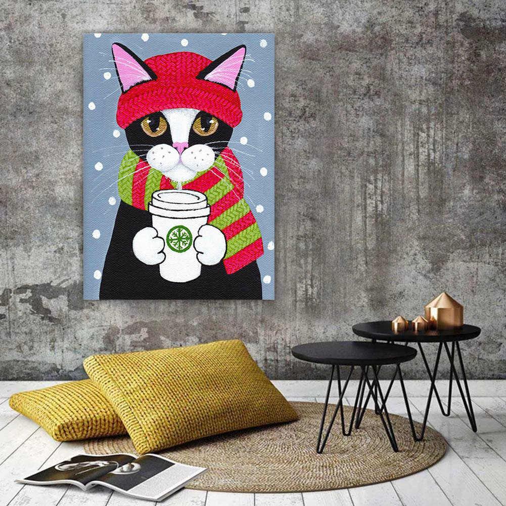 HUACAN יהלומי ציור 5D חתול יהלומי רקמת קריקטורה מלא כיכר/עגול פסיפס צבע עם יהלומים תמונה של Rhinestones