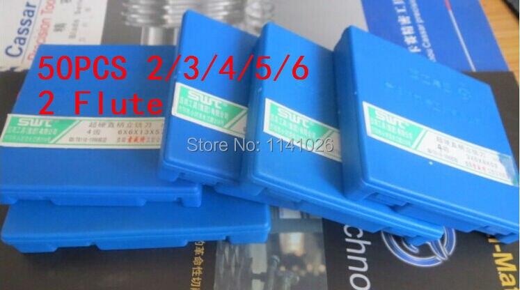 50 шт./компл. 2/3/4/5/6 мм два 2 флейты фреза ЧПУ Деревообрабатывающие инструменты, алюминиевая Концевая фреза, токарный инструмент