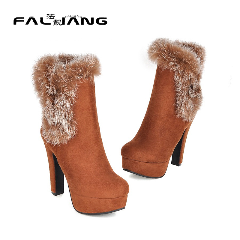 ФОТО Snow Boots 2017 New Fashion Winter Boots Women High Heel Fur Martin Boots Round Toe feather boots Black Blue red yellow