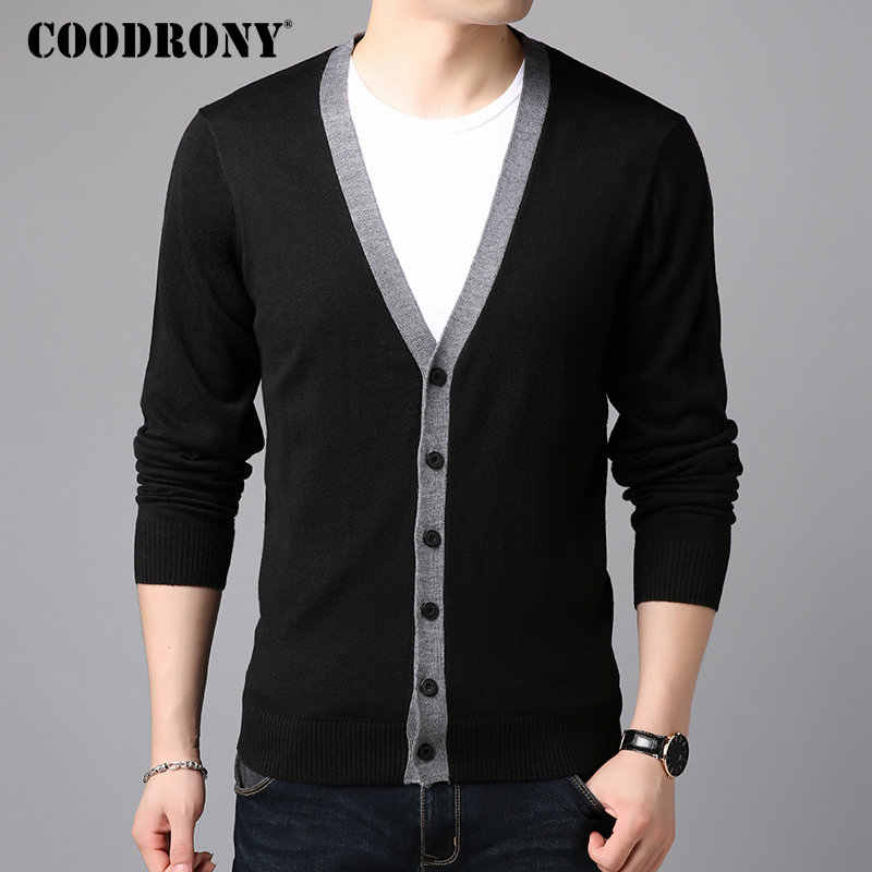 COODRONY Sweater Men Casual V-Neck Cardigan Men Clothes 2018 Autumn Winter New Arrivals Knitted Cashmere Wool Mens Sweaters 8258