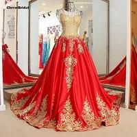 Зима 2016 без бретелек тонкое красное вечернее платье с бисером золотистые кружевные аппликации невесты красное платье со шлейфом xj01774