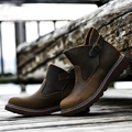 2016 New Handmade Winter Slip On Men Boots Buckle Hiking Genuine Leather Military Outdoor Shoes Autumn Mens Fashion Boots  Brown