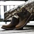 2016 Nuevo Hecho A Mano Resbalón de Los Hombres Botas de Invierno Hebilla Senderismo Zapatos Otoño Moda Hombre Al Aire Libre Botas Militares de Cuero Genuino Marrón
