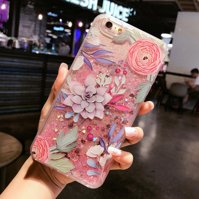 Embossed Unicorn Flashing Sand Quickly phone case for iPhone7 6S Plus Liquid Cover for iphone 7plus 6 6s
