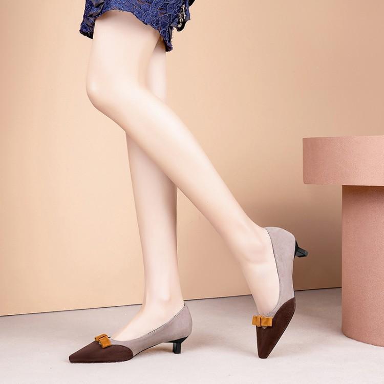 Slip Bout Femme Suédé Sur Show Chaussures Couleur Mélangée À As Étrange 2019 Talons as Femmes Pointu De Zapatos Show Pour Mujer Hauts Bq787