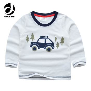 1-6T Cotton Boys Shirts Car Printed Girls Boys Clothes T-shirt Manche Longue Garcon Bobo Choses Baby Sweatshirt Girls Tops
