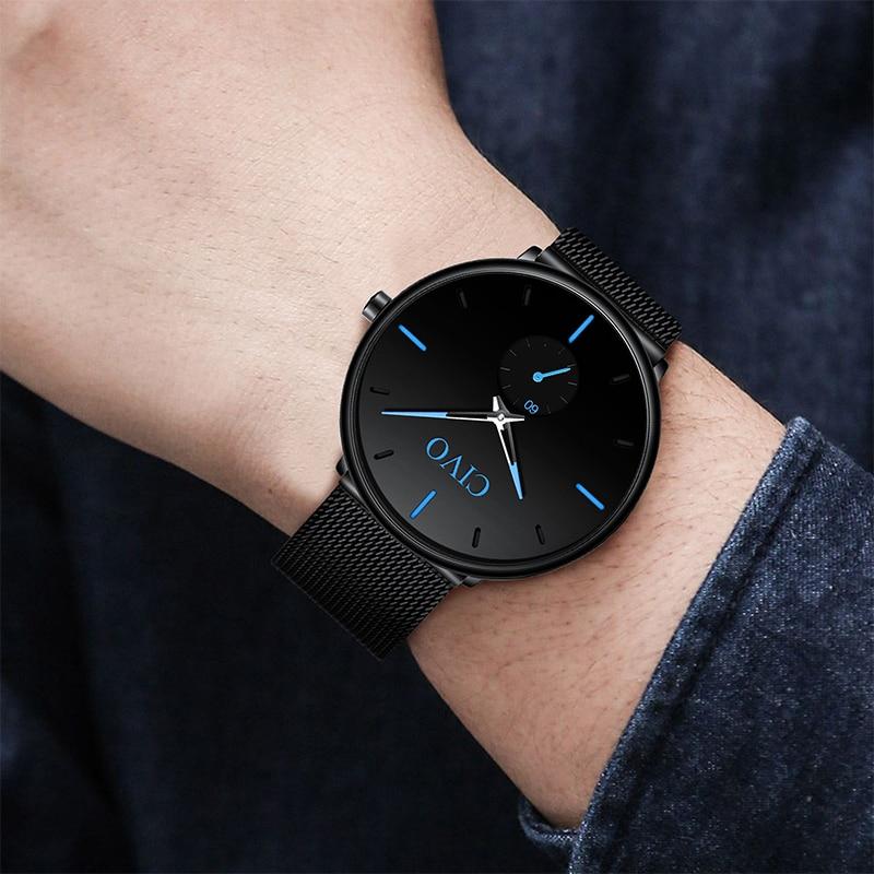 CIVO Mens Quartz Watch Men Top Brand Luxury Stainless Steel Minimalism Watches Ultra Thin Classic Wristwatch For Man Clock in Quartz Watches from Watches