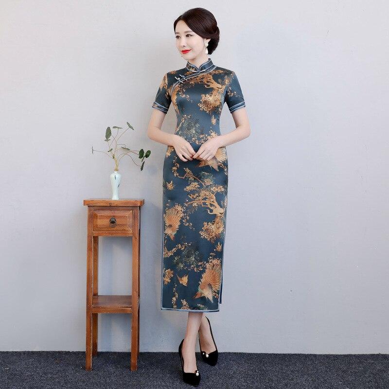 Cheongsam Vintage Style chinois soie longue Qipao nouveauté femmes printemps élégant mince robe Vestidos taille M L XL XXL XXXL 1952