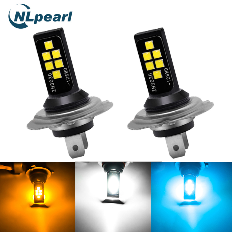 NLpearl 2x H11 <font><b>Led</b></font> 3000K Car Fog Lamp H1 H3 <font><b>Led</b></font> H7 9005 HB3 9006 HB4 <font><b>H9</b></font> H8 <font><b>Led</b></font> <font><b>Canbus</b></font> 3030SMD 6000K 8000K Driving Running Light image
