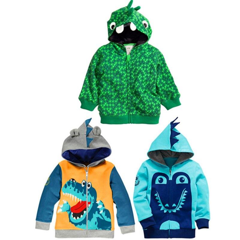 Boys Hoodies Crocodile Dinosaur Zipper Sweatshirt Boy Autumn Winter Cartoon Jacket Kids Cotton Children s Sweat