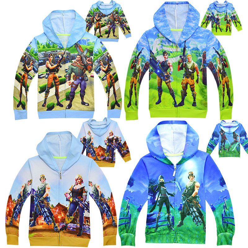 Children Cosplay Fortnite Costume Spring Autumn Fortnite Kid Boys Girls 3D Print Zip-Up Hoodie Halloween Birthday Party Clothing
