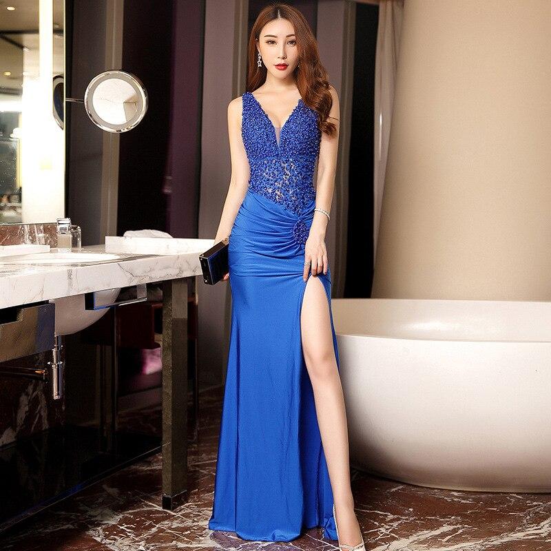 Sexy Bleu Royal Perles robes De bal 2019 V-cou De Split Sans Manches Soirée Robe Sirène Backless Pas Cher Robe De Noiva