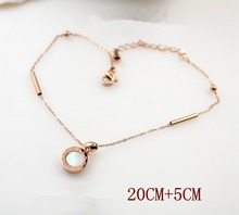 BFQ New elegant black white double-faced shell anklet for women rose gold color roman number anklet letter foot jewelry barefoot