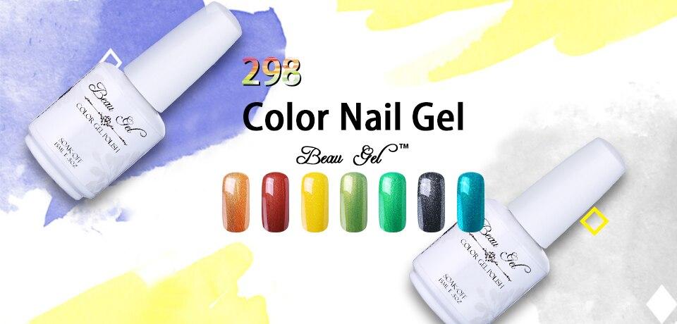 bbc9c1664 Beau Gel 298 coloreado UV Gel laca de uñas 15 ml Gelpolish Cheese Candy esmalte  Semi permanente esmalte de uñas Gel UV curado