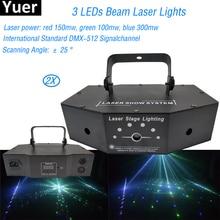 купить 2Pcs/Lot 2019 New Christmas Party Decorate Light RGB Full Scan 3 Leds Beam Laser Light LED Lights Show DJ Disco Stage Lighting по цене 13351.9 рублей