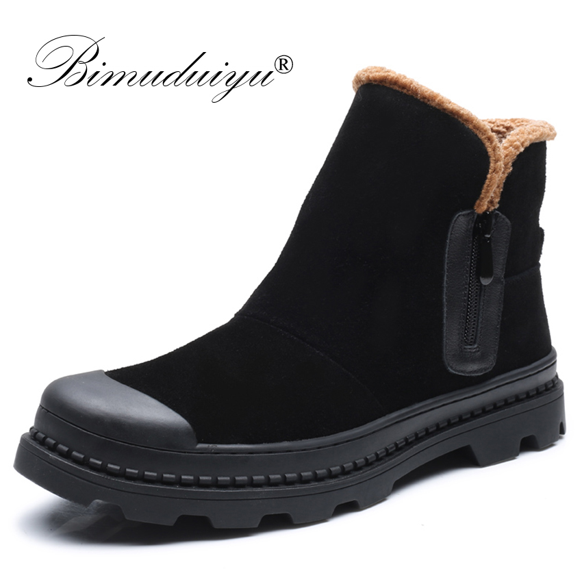 BIMUDUIYU Men Winter Fashion Snow Boots Men Cow Suede Genuine Leather Warm Casual Shoes Side Zipper Furry Flats Men Ankle Boots 2018 fashion men ankle boots casual men genuine leather zipper snow boots winter shoes men martin boots black warm boots cc 34