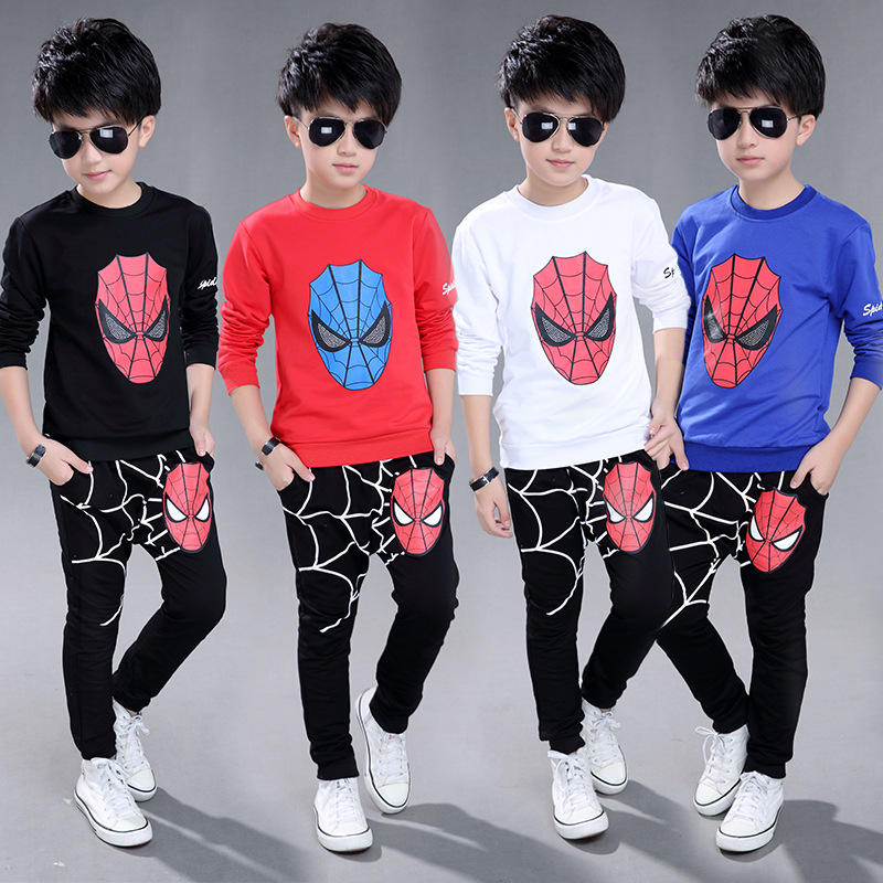 new children Sports suit Boys Clothing Set Superman Toddler boy set baby sport suit for boy Cartoon spidermam Kid Clothing Set i k boy vest suit breathable sport suit for boys 2017 summer new arrived children clothing two piece set comfortable suits a1082