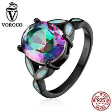VOROCO Classic Authentic 100% 925 Sterling Silver Colourful Glass & Opal Finger Rings for Women Wedding Fine Jewelry VSR067