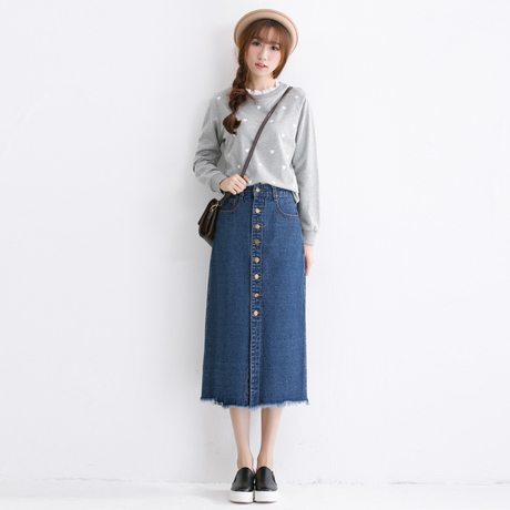 S XL Winter Vintage Buttons Denim Skirt Bust Design Womens Long Skirts A5491