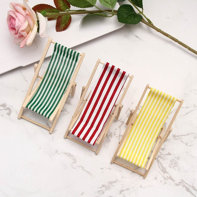 Mini Beach Lounge Chair Dollhouse Miniature Chairs Garden Decoration Furniture Folding Stripe Deck Diy Home Decor Baby Toy