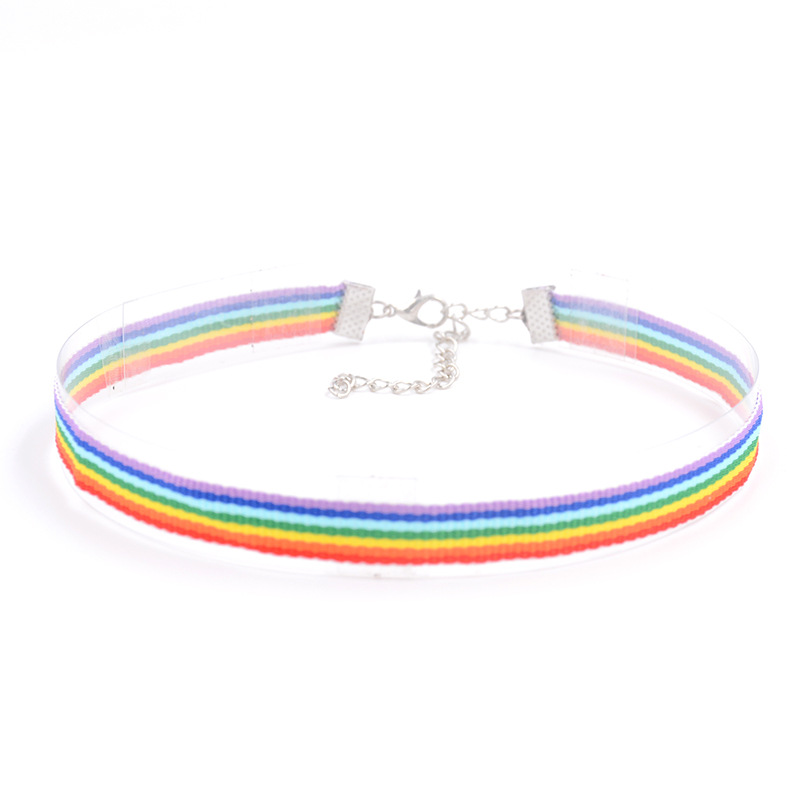 2017 Fashion Colorful Rainbow Choker Necklace Clavicle Chain Ribbon For Men Women Lesbian Bisexual Pride Simple Jewelry fashion