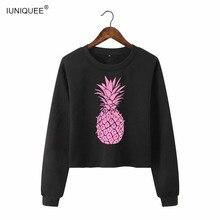 Drop Shoulder Crop Hoodie Women's Shining Pink Pineapple Print Long Sleeve Casual Pullovers Sweatshirt 2018 Fall Top Black Grey