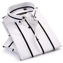 Erkek kontrast geniş çizgili kısa kollu elbise gömlek rahat yumuşak standart Fit yaz ince rahat düğme aşağı ofis gömlek