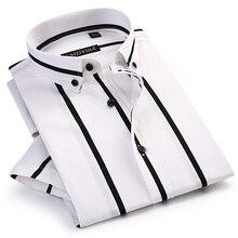 Männer der Kontrast Breite Streifen Kurzarm Kleid Shirts Komfortable Weiche Standard Fit Sommer Dünne Beiläufige Taste unten büro Shirt