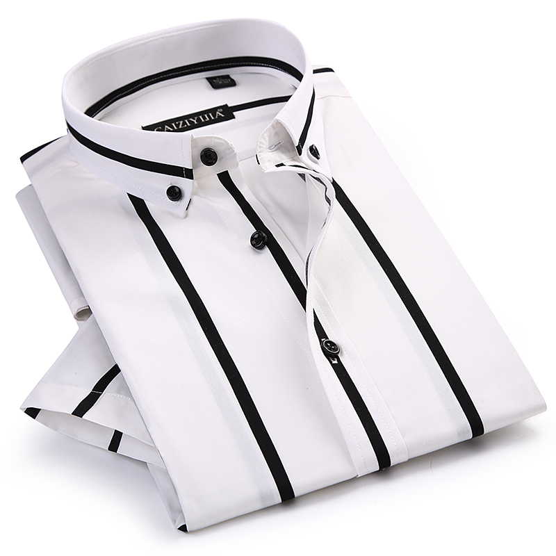 Men's Contrast Wide Stripes Short Sleeve Dress Shirts Comfortable Soft Standard-Fit Summer Thin Casual Button-down Office Shirt