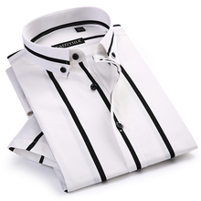 Mens Contrast Wide Stripes Short Sleeve Dress Shirts Comfortable Soft Standard Fit Summer Thin Casual Button down Office Shirt