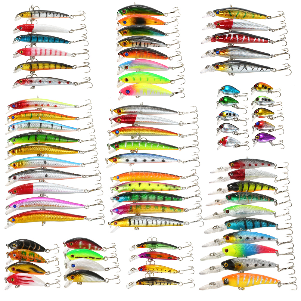 71pcs Fishing Lure Kit Set Mixed 3D eyes Minnow Lures Crankbaits Bass Artificial Hard Bait With
