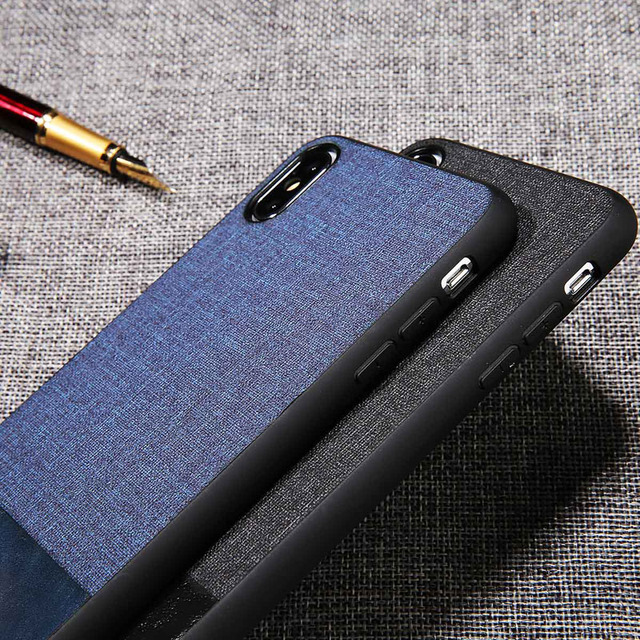 USLION Cloth Skin Matte Cases For iphone 6 6s 7 8 Plus PU Leather Phone Back Cover For iPhone X XS XR XS Max PC + TPU Case Coque