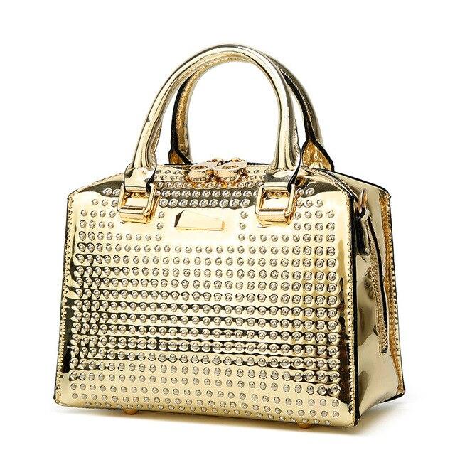 2968c26cf 2019 New Fashion Women Handbags European Design Patent Leather Ladies  Shoulder Bags Female Girl Brand Luxury Rivet Crossbody Bag
