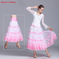 Women Girls Ballroom Dance Skirt Long Swing Modern Standard Waltz Competition Dance Clothing Belly Dance Latin Tango Skirts