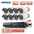 ANNKE 8-КАНАЛЬНЫЙ 1080 P Сеть HD PoE ВИДЕОНАБЛЮДЕНИЯ Системы Безопасности 8 шт. 2.0 MP Ip-камеры Открытый NVR Комплект видеонаблюдения 2 года гарантии
