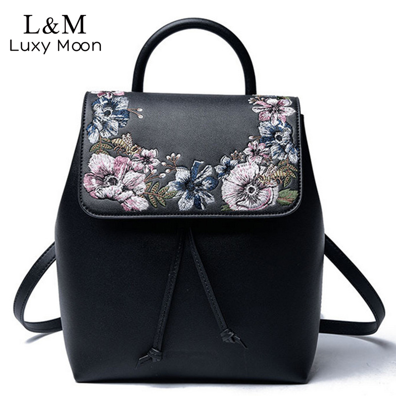 Women Floral Backpack Black Flowers Embroidery Backpacks PU Leather Bag Teenage Girls School Bags Travel 2017