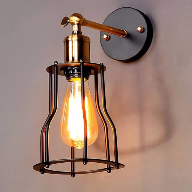 Style Loft American Country Iron Retro Small Cages Wall Sconce Residential Lighting Lamp 1 Light
