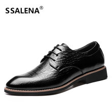 Cow Split Leather For Men Dress Shoes Formal Business Pointed Toe Loafers Shoes Male Lace Up Casual Oxford Flats Shoes AA50149