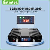 75dB Dual Band B8 900 EGSM B1 2100 UMTS Signal Booster EGSM 900mhz+WCDMA 2100mhz Mobile Signal Repeater with LCD display @6.9