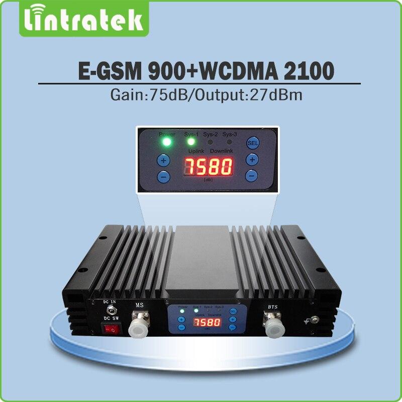 75dB double bande B8 900 EGSM B1 2100 UMTS amplificateur de Signal EGSM 900 mhz + WCDMA 2100 mhz répéteur de Signal Mobile avec écran LCD @ 6.9
