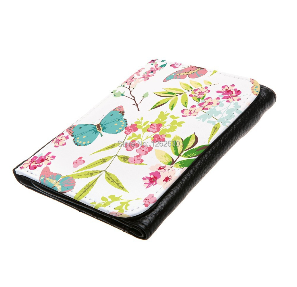 a6c056fb9716 US $13.98 |Watercolor Colorful spring Tropical Flower with Butterfly  Pattern Print Custom Small Faux Leather Women Wallets carteira Purse-in  Wallets ...