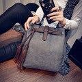 Nueva Llegada de 2017 Mujeres de La Manera de La Borla de La Vendimia del bolso Del Cubo Mensajero Femenino Bolsa Grande Retro Del Bolso de Hombro Simple Bolso Crossbody