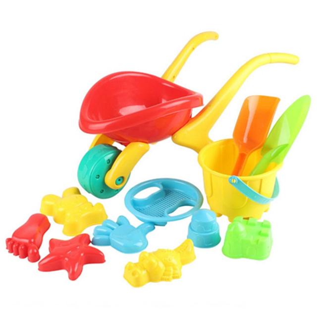12 Peças Carrinho De Areia Da Praia Brinquedo Conjunto com Saco de Rede para As Crianças-Cor Aleatória