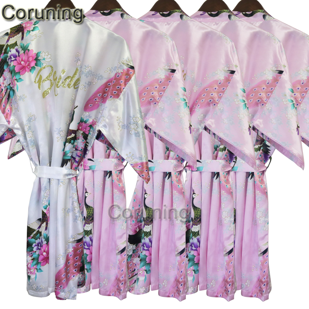 RB031  Plus Size Kimono Robe Sleepwear Bride Robe Kimono Dressing Gowns For Women Home Bridesmaid Robe ...