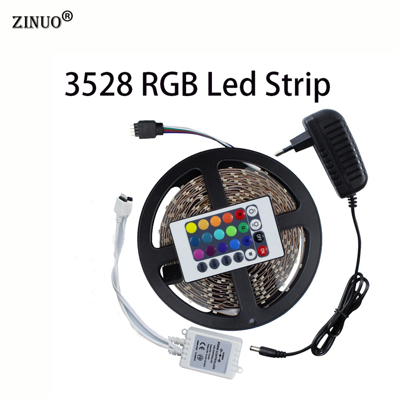 ZINUO 3528 60Leds/M 5M LED Strip Light Kit Non-Waterproof RGB/Single Color+IR Remote Controller/DC Connect+12V 2A Power Adapter