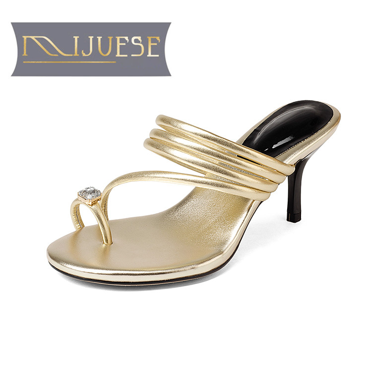 MLJUESE 2018 women slippers Genuine leather cow leather slip on Gold color peep toe high heels